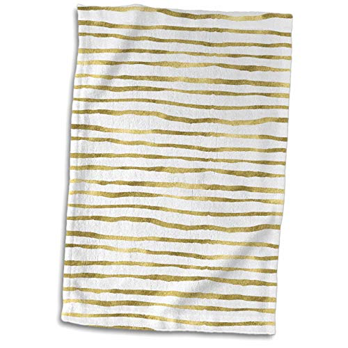 ugh - Patterns - Glam Gold and White Hand Painted Uneven Stripes Pattern - 15x22 Hand Towel (TWL_254868_1) ()