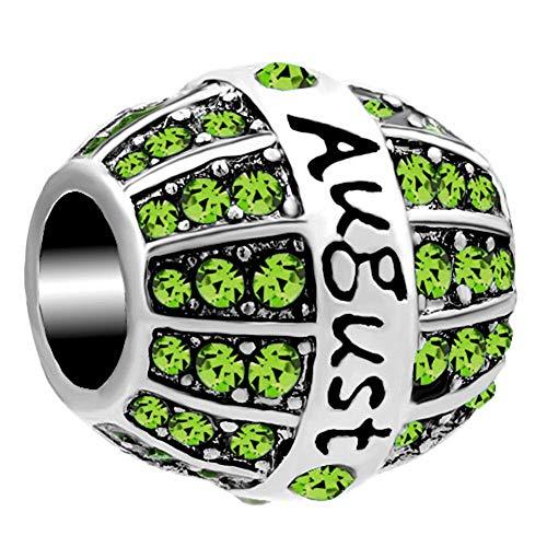 ShinyJewelry August Synthetic Birthstone Crystal Bead Charm for Charm Bracelets for Girls (August Boy Charm Birthstone)