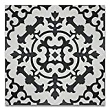 Moroccan Mosaic & Tile House CTP64-01 Arfoud 8''x8'' Handmade Cement Tile (Pack of 12), BlackWhite