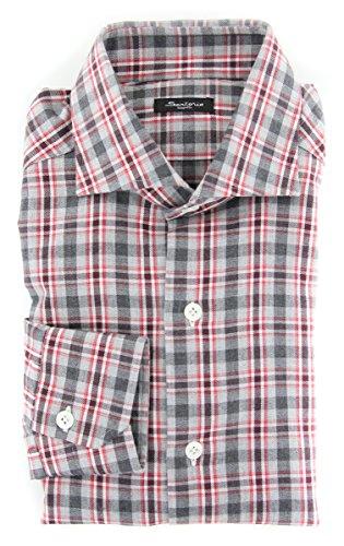 Sartorio Napoli New Red Plaid Slim Shirt (Shirt Red Napoli)