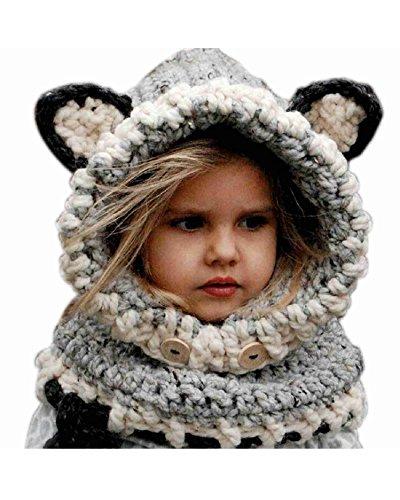 DAYAN Wolle Winter Strick Fox Kappen-Baby-Tücher Kapuzen Cowl Beanie Caps Bestes Weihnachts-Geschenk für Kinder Farbe Grau