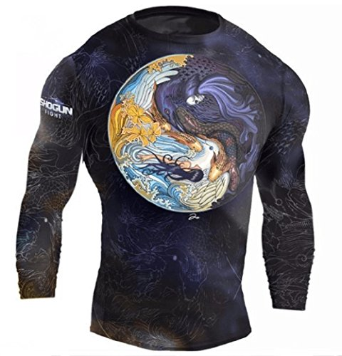 Shogun Fight Rash Guard BJJ MMA Premium Jiu Jitsu Fighting Grappling Compression Shirt, Medium Tao Long Sleeve