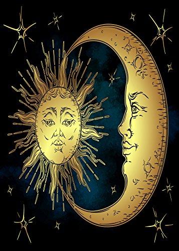 ALAZA Golden Sun And Moon Star Welcome Garden Flag Double Si