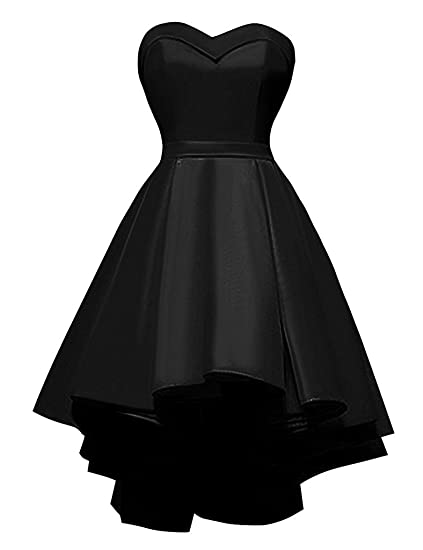 Sweetheart Short Prom Homecoming Dress Strapless High Low Satin