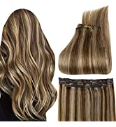 Full Shine Clip Hair Human Hair Extensions 18 Inch Honey Blonde 27 Highlight Color 4 Middle Brown...