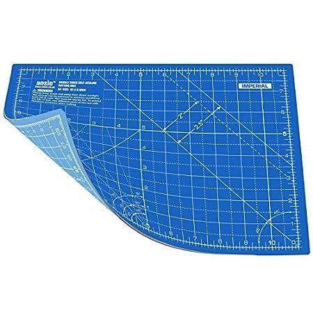ANSIO A4 doppio lato auto guarigione 5 strati di taglio Mat imperiale/metrica 8 pollici x 11 pollici/(21 cm x 29 cm) - True Blu / Cielo blu ANSIO 4023