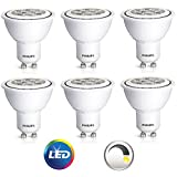 6-Pack x Philips LED Bulb (50W/7W), PAR20 Shape, GU10 Base, Dimmable, Indoor Flood, (Bright White 3000K Color Temperature)