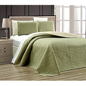Amazon 3 Piece Sage Green Oversize Stella Grande Bedspread