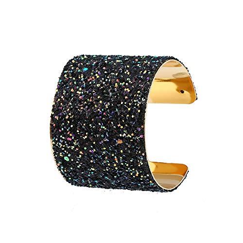 - Anseal Wrap Cuff Bangle Bracelet Multicolor Sequin Alloy Bracelet (Black)