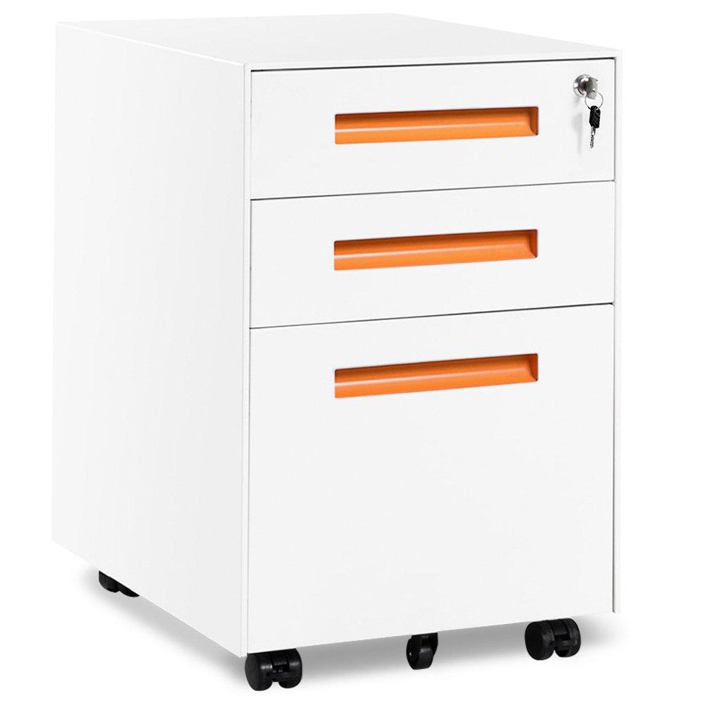 Rollcontainer, inkl. 3 Schübe, grundsolide Verarbeitung, optimal für Schreibtisch, Büromöbel, Schreibtisch Container, Rollkontainer Büro, Rollkontainer mit Schubladen, Hängeregistratur (Schwarz B) inkl. 3 Schübe Büromöbel Rollkontainer Büro LZH