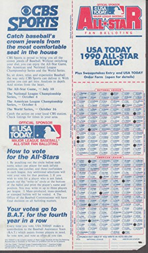CBS Sports USA Today MLB All-Star Game Ballot 1990 punched 1990 Mlb All Star Game