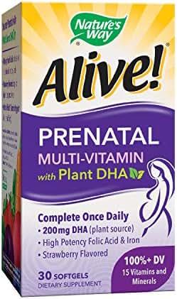 Nature's Way Alive!® Prenatal Multivitamin, Complete Formula with Fruit & Veggie Blend (50mg per serving), 30 Softgels