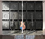 Ambesonne American Flag Curtains, Black and Us Bass Guitar Electronic Rock Music Theme Digital Graphic Work, Living Room Bedroom Window Drapes 2 Panel Set, 108 W X 84 L Inches, Multicolor