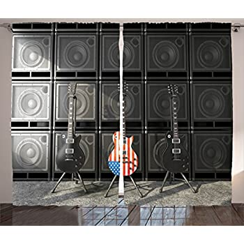 Ambesonne American Flag Curtains, Black and Us Bass Guitar Electronic Rock Music Theme Digital Graphic Work, Living Room Bedroom Window Drapes 2 Panel Set, 108