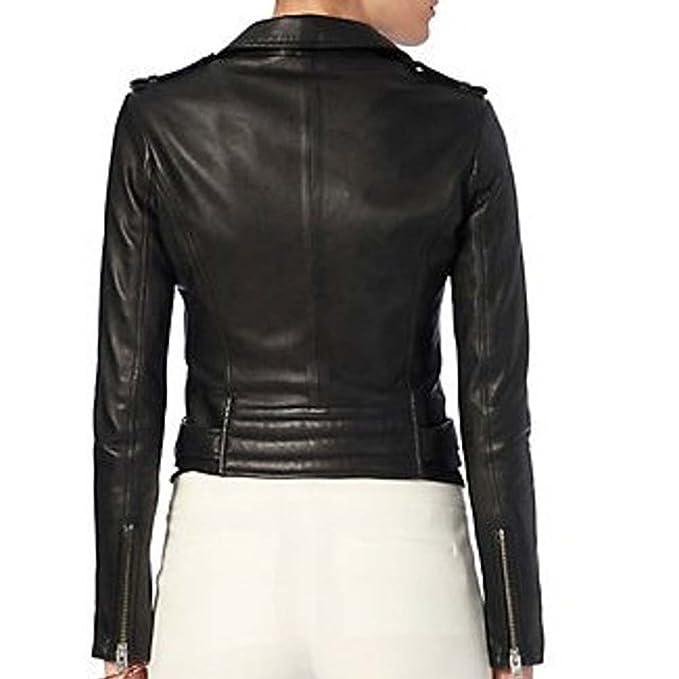 Las Vegas Womens Black Asymmetrical Biker Style Leather Jacket at Amazon Womens Clothing store: