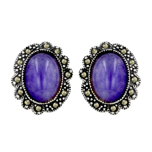 .925 Sterling Silver Oval Purple Jade Earring with Marcasite Around Decorated