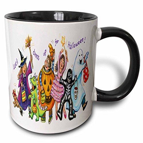 (3dRose Anne Marie Baugh - Halloween - Cute Illustration Of Halloween Trick Or Treaters - 15oz Two-Tone Black Mug)
