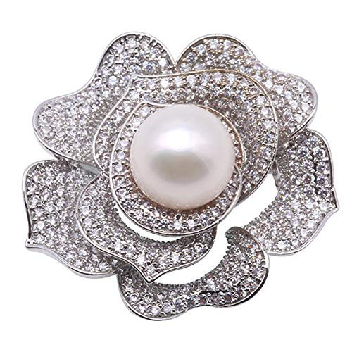 JYX Pearl Brooch 13mm White Pearl Rose Brooch Pin