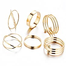 Newyuan 6pcs/set Gold Plated Stackable Round Knuckle Midi Ring Wedding Love Gifts for Women Girls HZS21A11