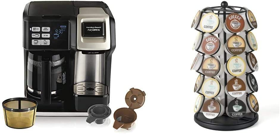 Hamilton Beach FlexBrew Coffee Maker, Single Serve & Full Pot, Compatible with K-Cup Pods or Grounds, Programmable, Includes Permanent Filter, Silver & K-Cup Carousel - Holds 35 K-Cups in Black