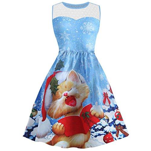 ESAILQ Vintage Weihnachten Spitze Kleid Damen Ärmellos Rockabilly ...