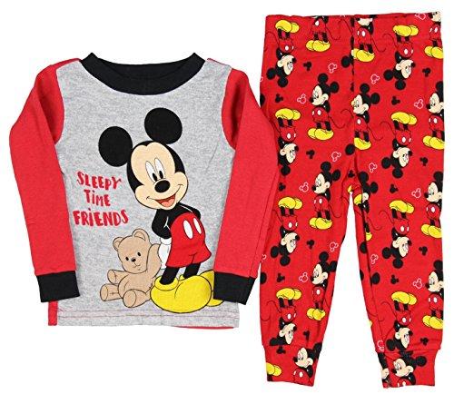 Disney Baby Boys' Mickey Mouse 2 Piece Long Sleeve Pajama Sleepwear Set 24 Months (Best Friend Footie Pajamas)