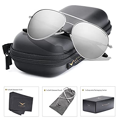 LUENX Aviator Sunglasses Polarized for Driving with Accessories - UV 400 Protection Large Metal Frame