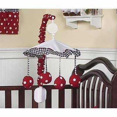 - Sweet Jojo Designs Red and White Polka Dot Ladybug Musical Crib Mobile