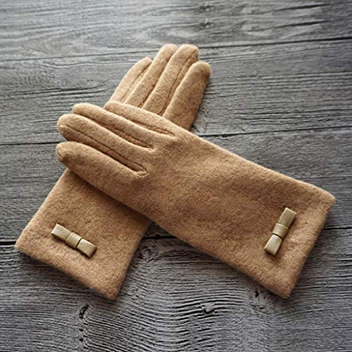 ZXW Glove - Warm Gloves Simple Bow Double Thickening Plus Wool Touch Screen Gloves (Color : Camel)