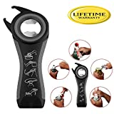 Professional Multi Bottle Opener, 5 In 1 Jar Bottle Can Opener, Lid Twist Off Gripper,Soft Grips Handle,Multifunction Opener for Seniors Rheumatoid Arthritis,FDA Approved