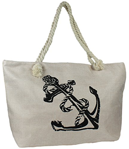 Mevina Damen große Strandtasche mit Anker Muster Hippie Ibiza Badetasche Tragetasche Einkaufstasche Shopper XL Beige
