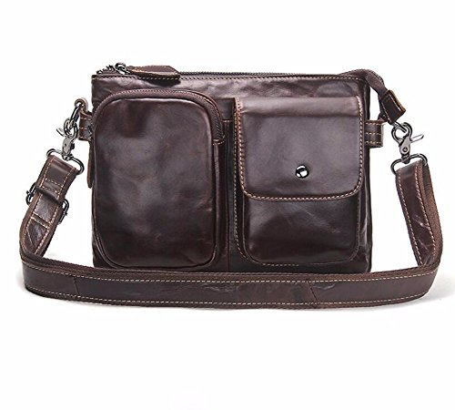 horizontal sección Surnoy 14 Male cuero 's Bag pulgadas Brown single auto Bag Men Enkephalin Satchel Casual Brown Brown de Shoulder de Leather sutura zzr8q