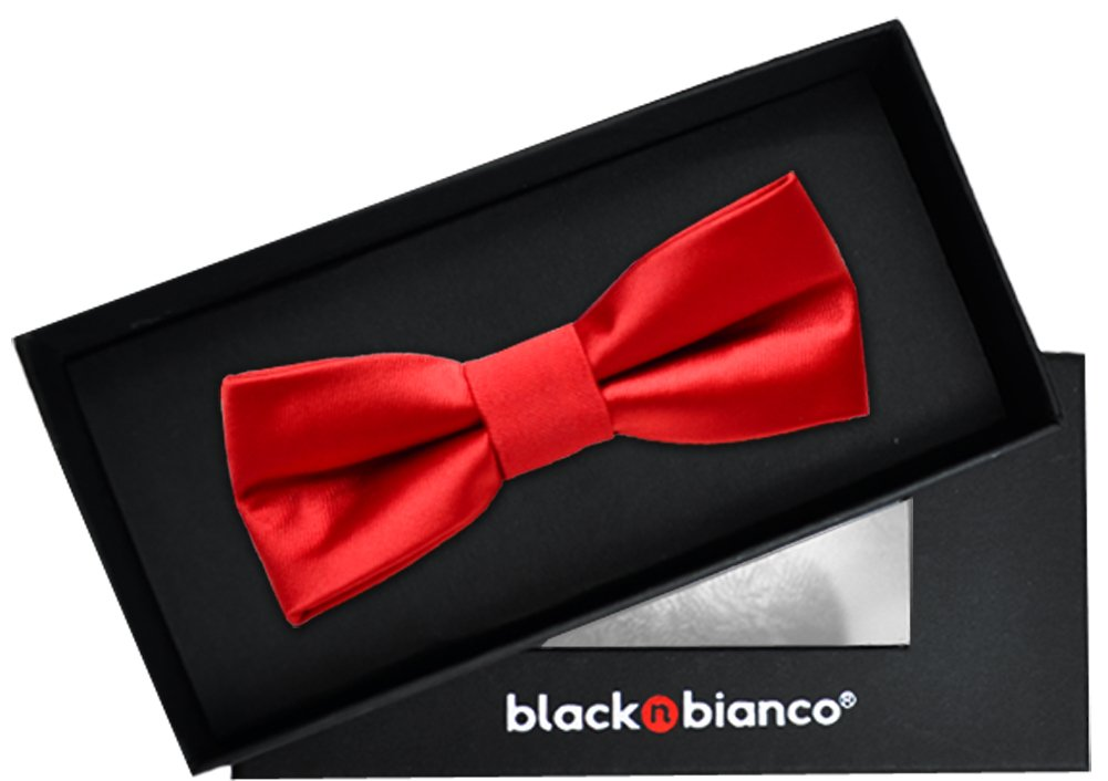 Black n Bianco Boys' Satin Modern Bow Tie Pre-Tied (Red)
