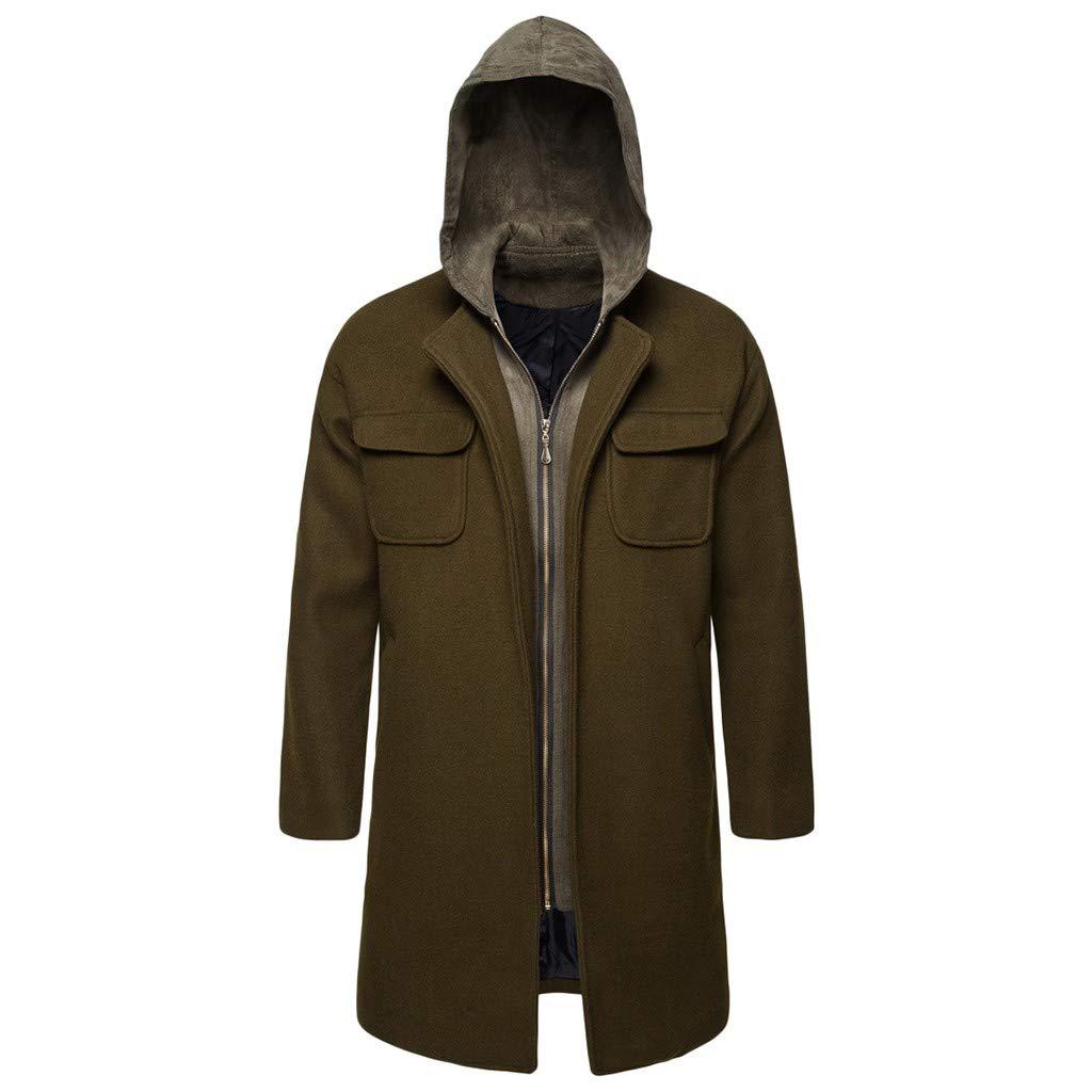 Parka Jacket Mens GREFER Winter Warm Hoodies Outwear Full Zipper Slim Business Overcoat for Men Long Sleeve Army Green by GREFER-Mens