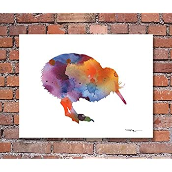 Bird Abstract Watercolor Painting Art Print by Artist DJ Rogers