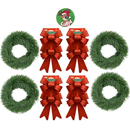 Reindeer Topiary (Bulk Set of 4 Christmas Garland for Front Door, Porch Railing, Mantel, Fence and More 15 Feet Each Faux Green Pine with 8 Glittery Red Bows Free Reindeer Button)