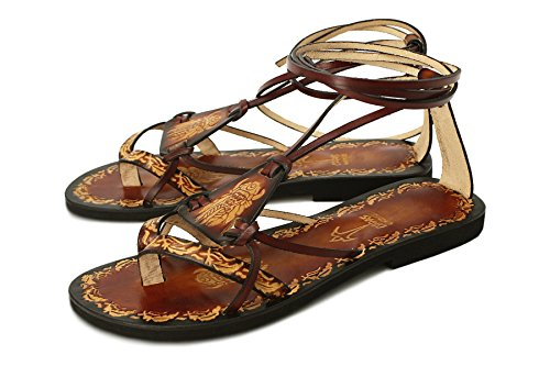 Calpas Handmade Hippie Boho Sandals, Unisex Brown Burnished Leather Lace Up Flat Sandals With Design - Fantasy II