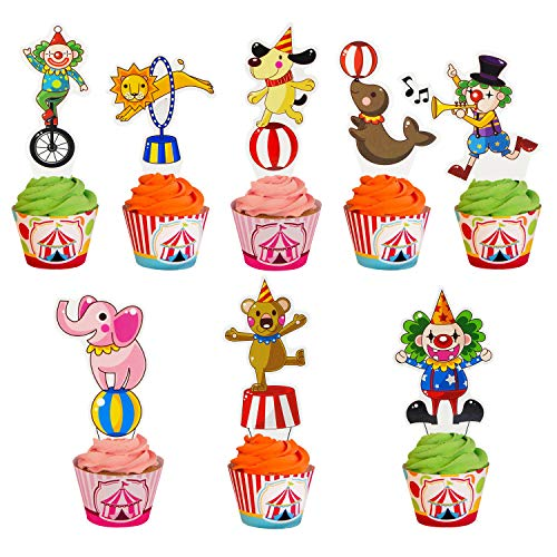 45 Pieces Circus Animal Cupcake Topper for Carnival