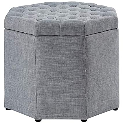 Prime Amazon Com Posh Living Adrian Grey Linen Storage Ottoman Machost Co Dining Chair Design Ideas Machostcouk