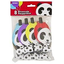 Birthday Panda Party Blowers, 8ct