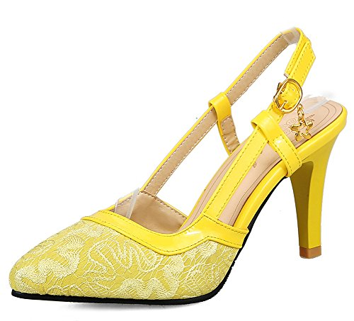 Aisun Women's New Sling Back Kitten Heels Sandals Shoes Yellow O8vol
