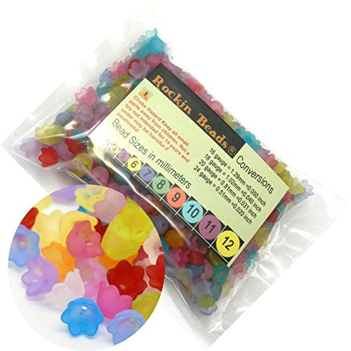 Rockin Beads Brand, 500 Frosted Mix Lily Flower Acrylic Beads Bead 10x7mm Also Used As Bead -