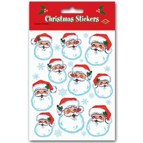 Santa Face Stickers   (4 -