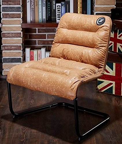 Comfortable Living Room Chairs (Zenree Comfortable Padded Collapsible Armless Lounge Chair Golden Micro Fiber Soft Cushion for Living Room Dorm Bedroom Patio)