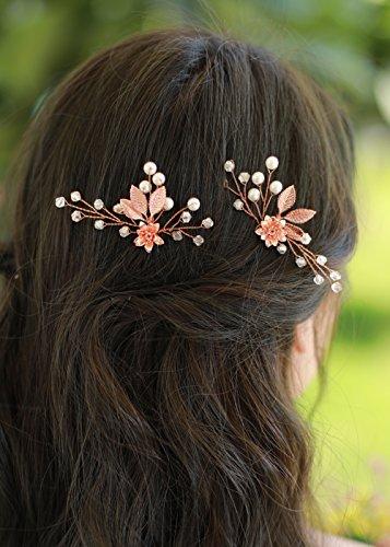 Missgrace Bridal Rose Gold Hair Pins Women Crystal Rhinestone Wedding Leaf Hair Pins Clip Hair Jewelry ( pack of 2 ) (Hair Jewelry Rose Gold)