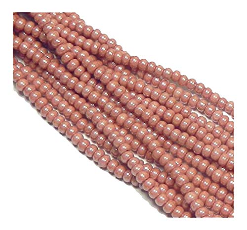 (Pink Opaque Luster Czech 8/0 Glass Seed Beads 1 Full 12 Strand Hank Preciosa)