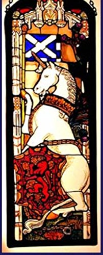 - Decorative Hand Painted Stained Glass Window Rectangular Panel in an Edinburgh Unicorn Design.