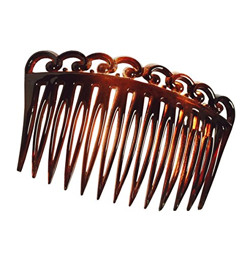 Parcelona French Swirl Set of 2 Celluloid Acetate Brown Tortoise Shell Side Hair Combs 2 Pcs