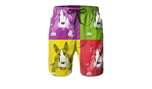 NIBCX-K English Bull Terrier Mens Quick Dry Beach Board Shorts Summer Swim Trunks