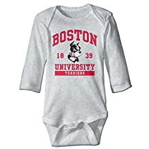 Boston 1839 University Personalize For Newborn Baby Clothes Bodysuits Long Sleeved Ash